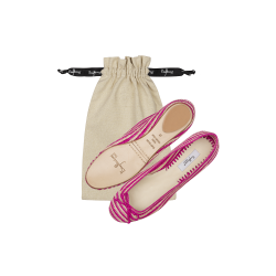 Striped Raffia Ballerinas
