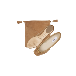 Foldable ballerina in Suede Leather