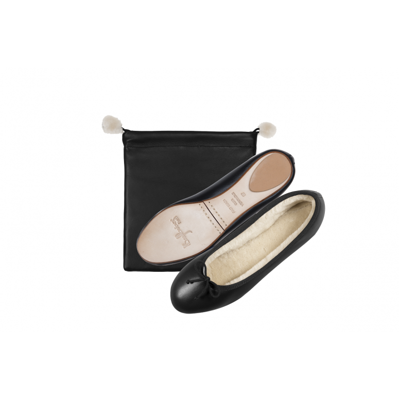 Fur Ballerinas in Smooth Leather black / crème fur