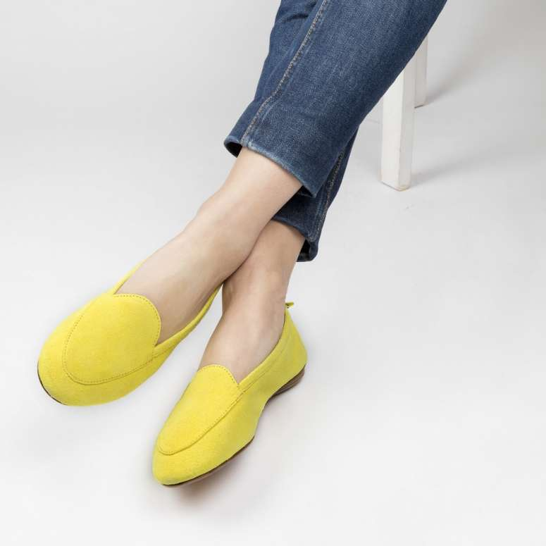 Moka voyage folable mocassins in suede leather fluorescent yellow