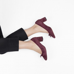 Suede leather Annette ballerinas with a heel
