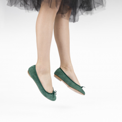 Ballerines pliables Daily peau velours forestal