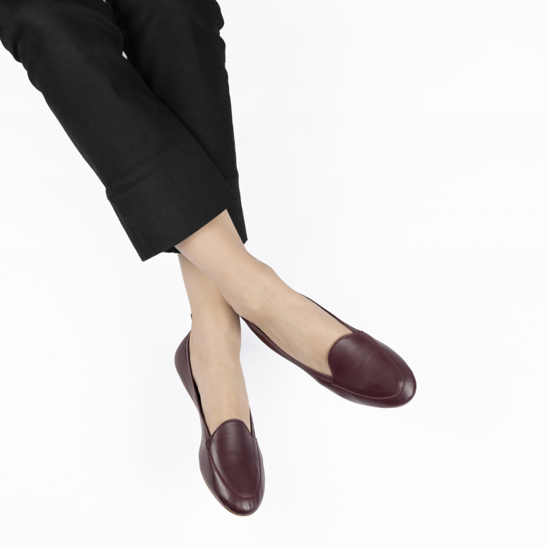 Moka voyage foldable loafers in genuine leather burdeos